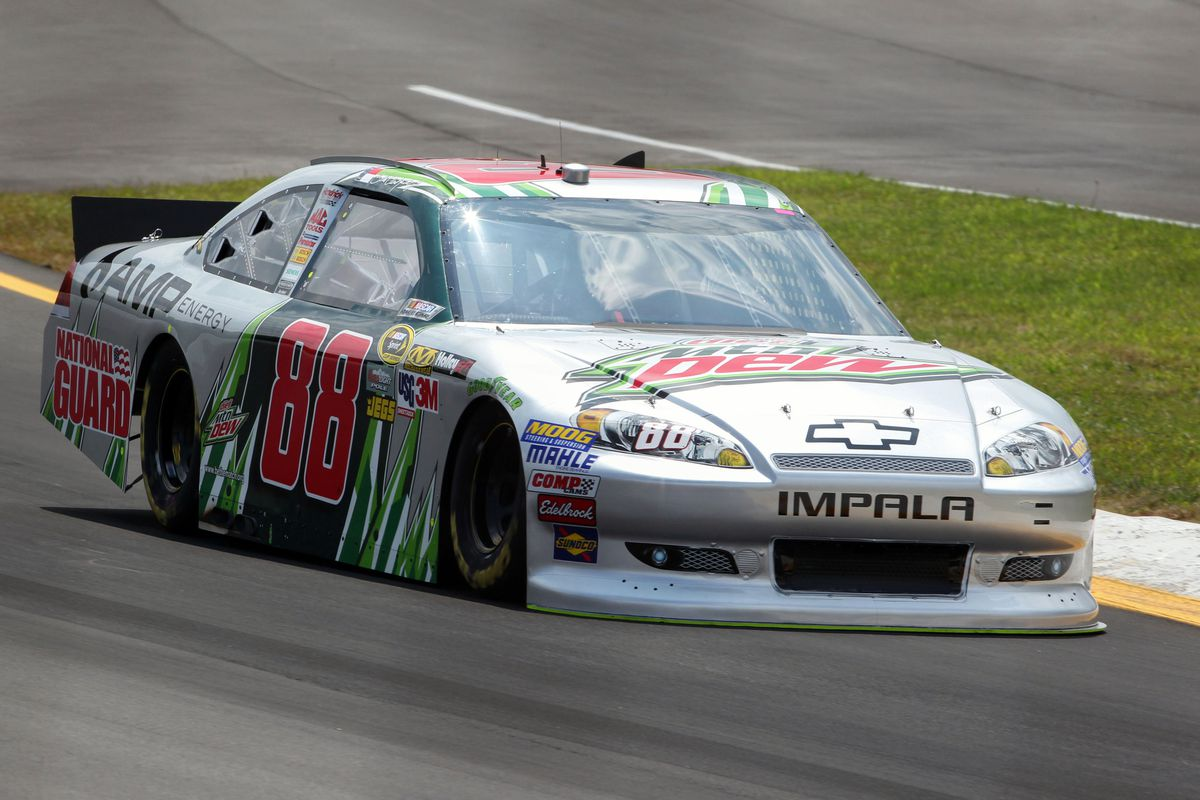 Aug 4, 2012; Long Pond, PA, USA;   NASCAR Sprint Cup Series driver Dale Earnhardt Jr. (88) during qualifying for the Pennsylvania 400 at Pocono Raceway.  Mandatory Credit: Anthony Gruppuso-US PRESSWIRE