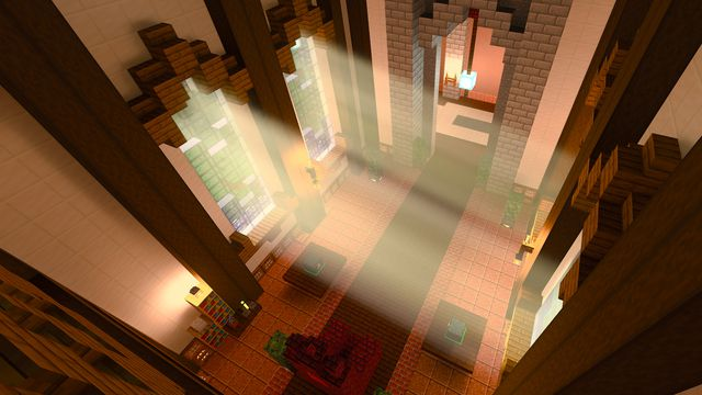 a shot of a palace interior with RTX on in the Minecraft with RTX beta