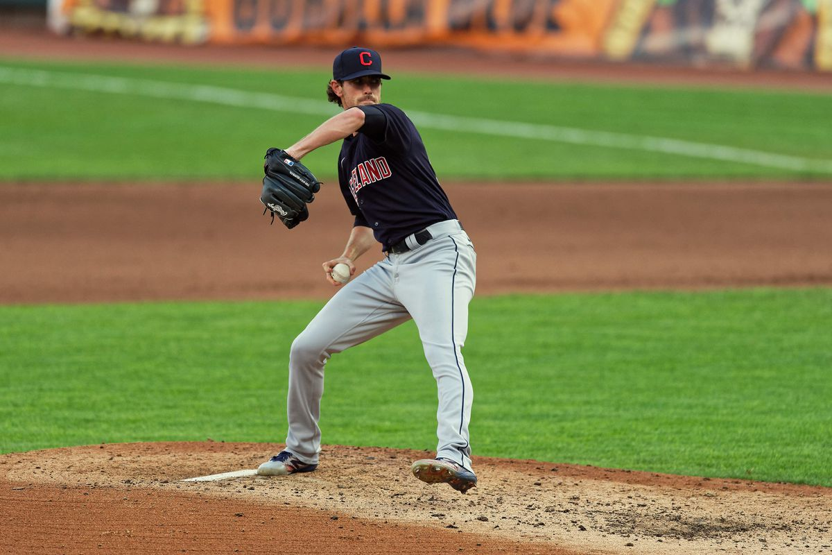 Shane Bieber of the Cleveland Indians pitches against the Cincinnati Reds at Great American Ball Park on August 4, 2020 in Cincinnati, Ohio.