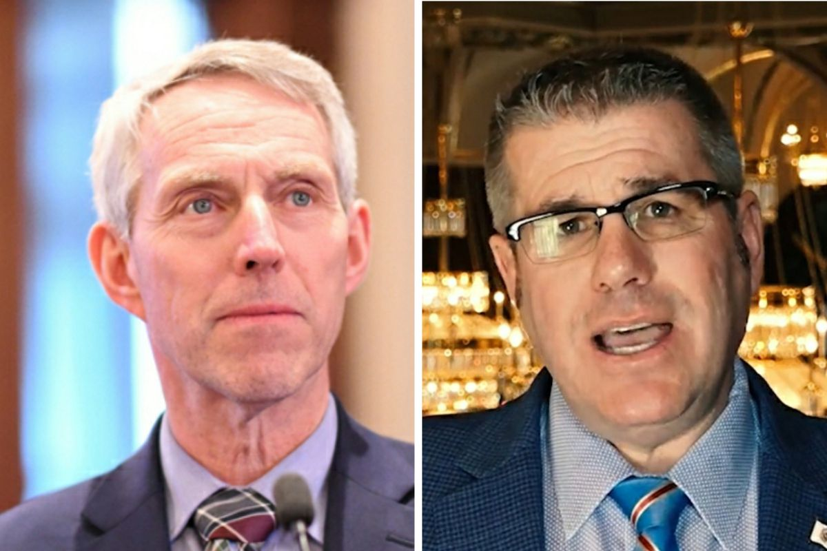 State Rep. Brad Halbrook, R-Shelbyville, left; State Rep. Darren Bailey, R-Xenia, right.