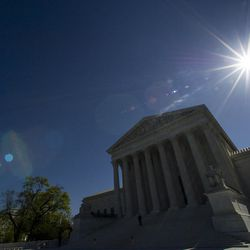 The sun shines over the Supreme Court as they hold a hearing on same-sex marriage, in Washington, Tuesday, April 28, 2015. The opponents of same-sex marriage are urging the court to resist embracing what they see as a radical change in society's view of what constitutes marriage.