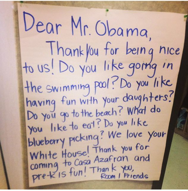 A thank-you note from pre-kindergarteners in Nashville was sent to President Obama after his visit last December.