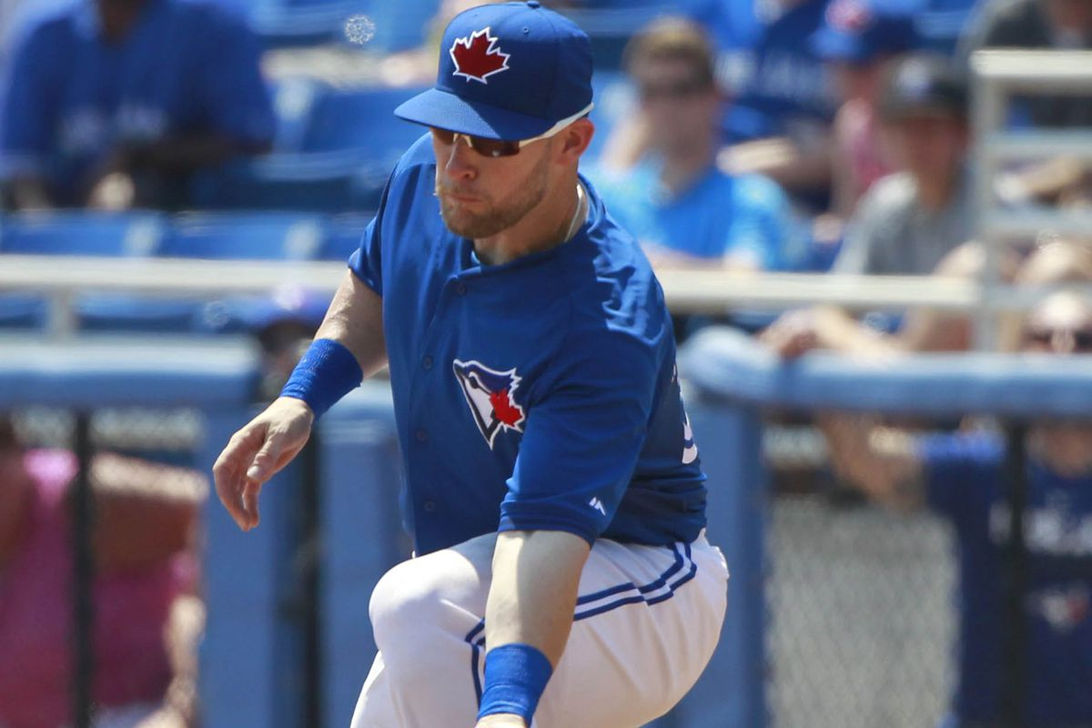Daric Barton making a play at first base.