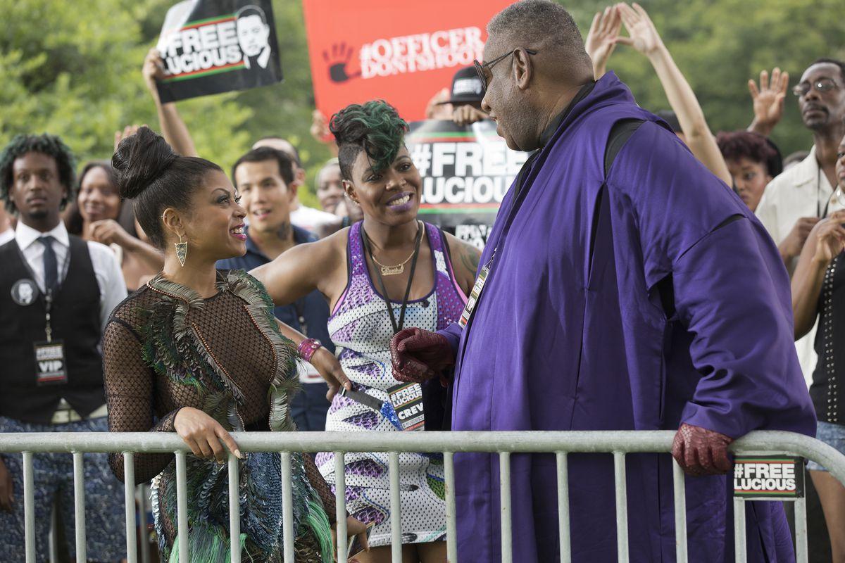 Taraji P. Henson as Cookie Lyon, Ta'Rhonda Jones as Porsha, and guest star André Leon Talley on Empire.