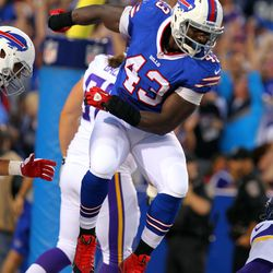 Aug 16, 2013; Orchard Park, NY, USA;  Buffalo Bills linebacker Bryan Scott (43) celebrates a touchdown with teammates during the first half against the Minnesota Vikings at Ralph Wilson Stadium.