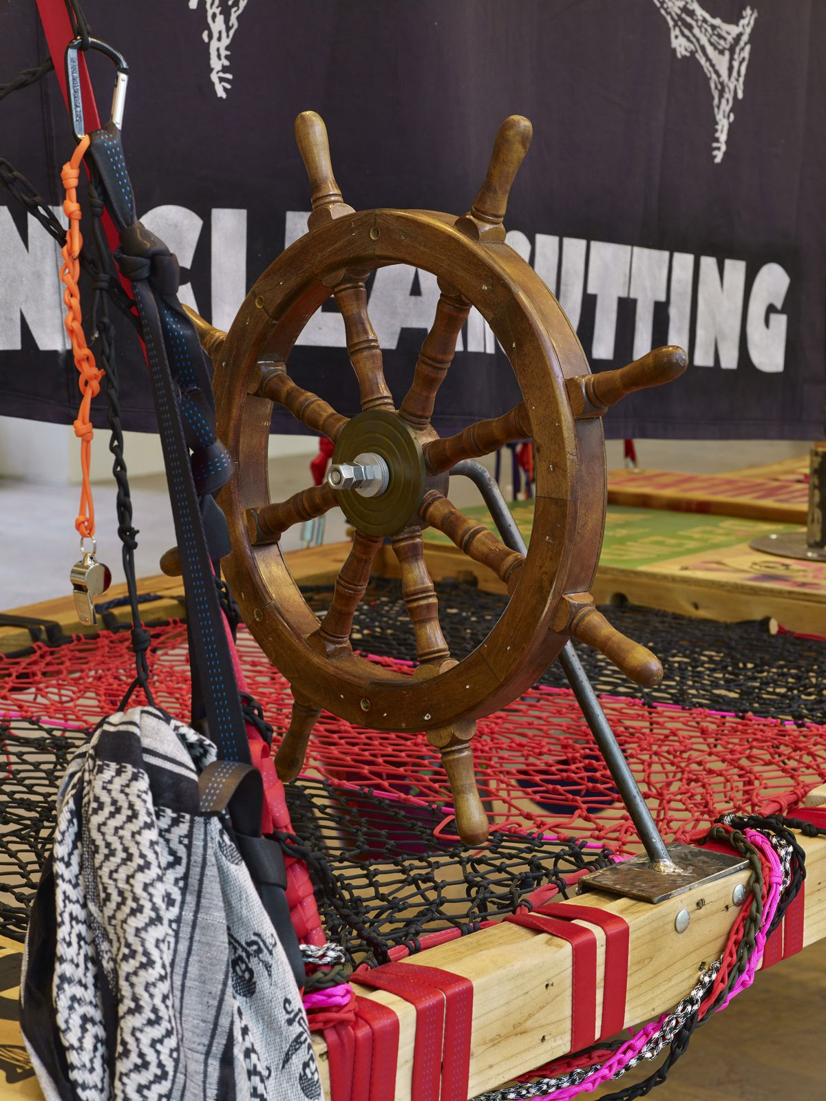 """Andrea Bowers, """"Radical Feminist Pirate Ship Tree-Sitting Platform"""" Recycled wood, rope, carabineers, misc. equipment, and supplies."""