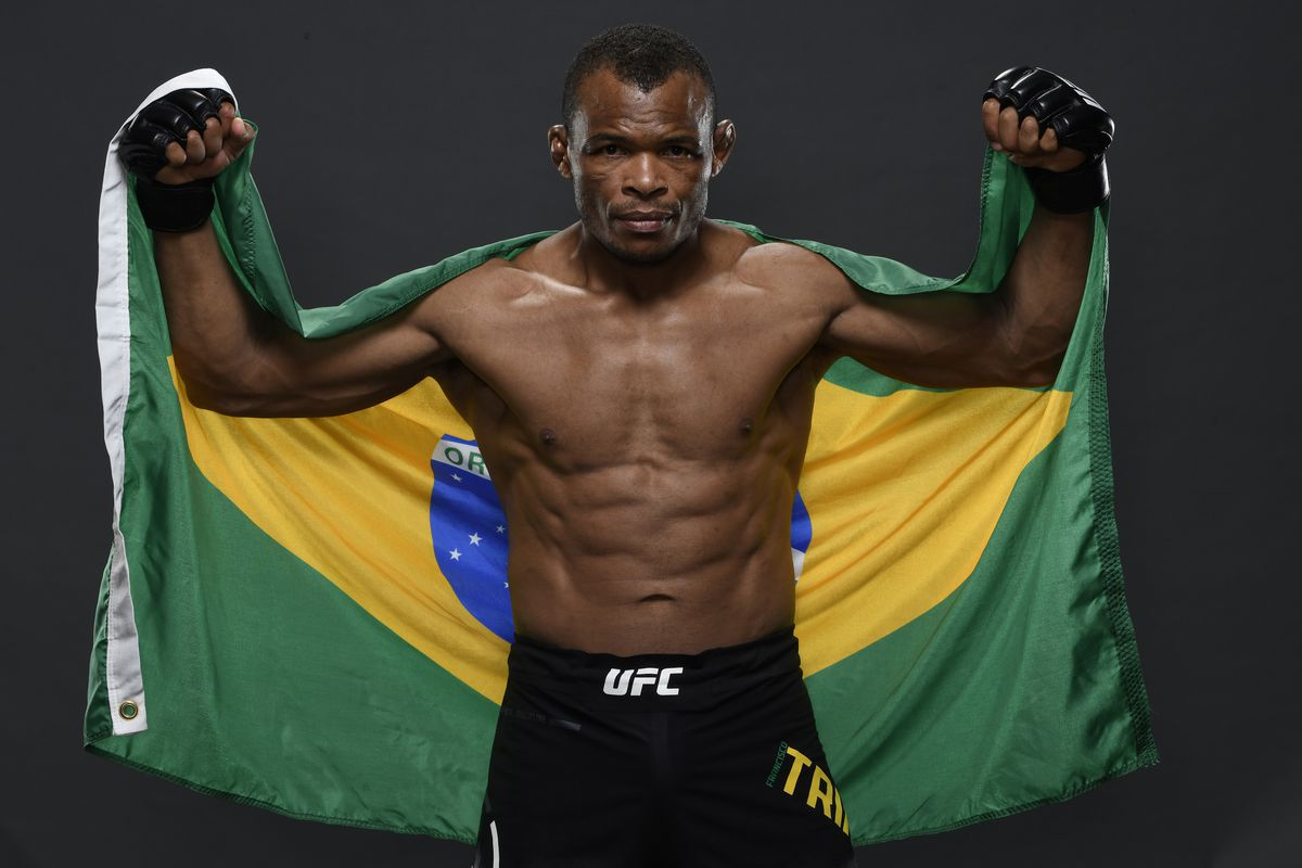 Francisco Trinaldo of Brazil poses for a portrait backstage after his victory during the UFC Fight Night event on March 14, 2020 in Brasilia, Brazil.