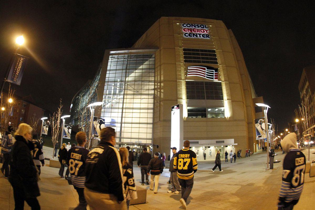 Longtime Penguins fans stream into the casino.