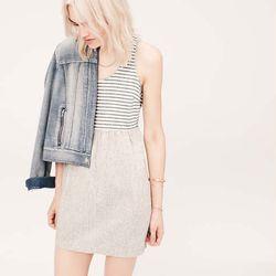 "<a href=""http://www.loft.com/lou-26-grey-stripe-mix-dress/329800?colorExplode=false&skuId=16139916&catid=cat1880002&productPageType=fullPriceProducts&defaultColor=6600"">Stripe mix dress</a>, $69.50"