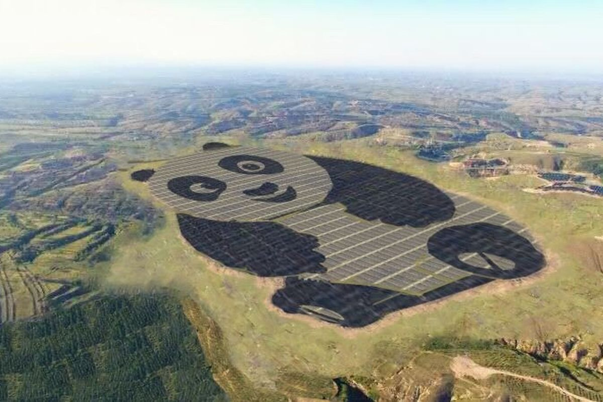 Adorable Solar Farm in China is Literally Shaped Like a Giant Panda