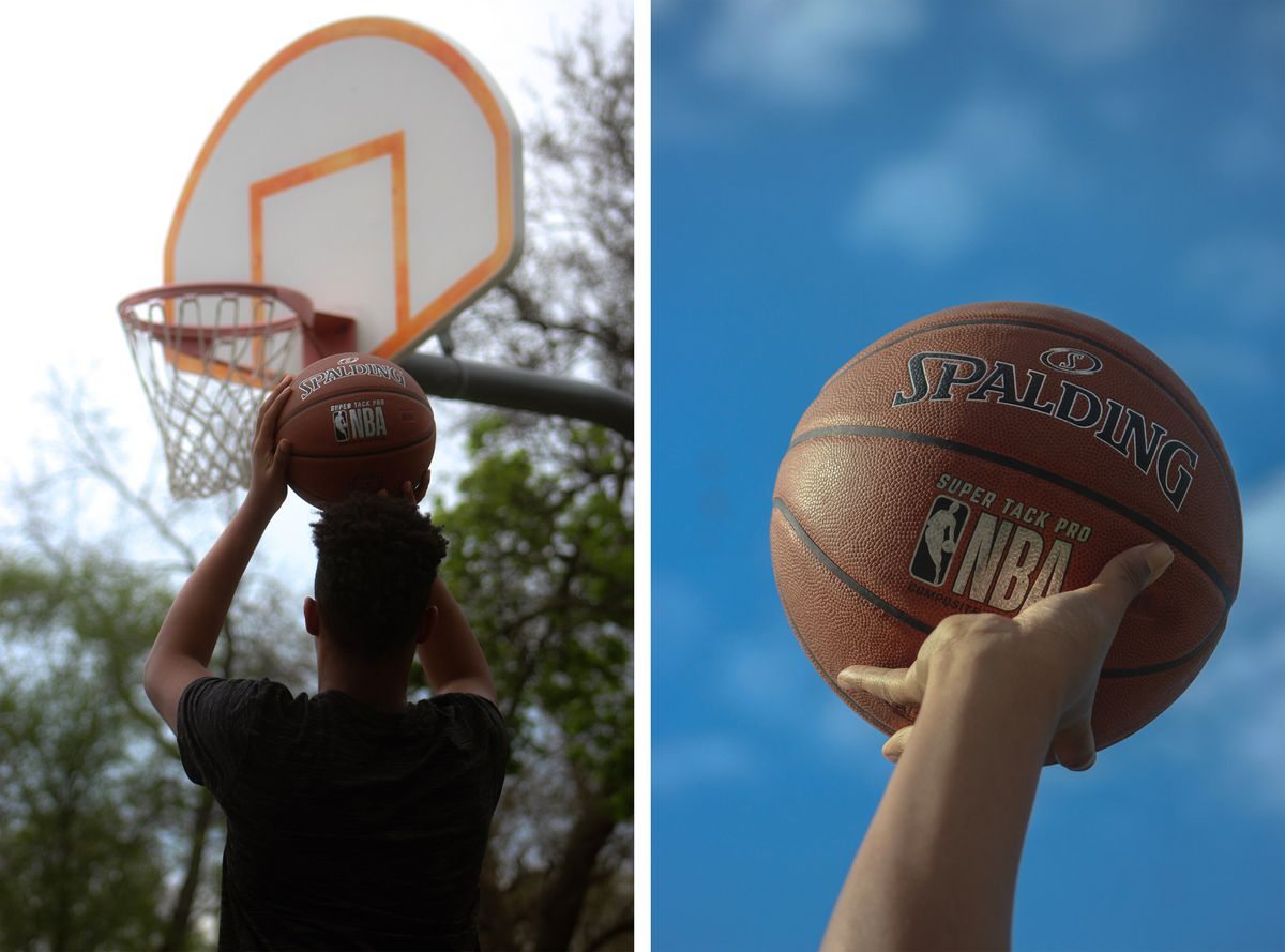 (Left) A young man holds a Spaulding basketball over his head, aiming at a basketball hoop with faded orange lines. (Right) An orange Spaulding basketball is held in an outstretched hand against a bright blue sky.