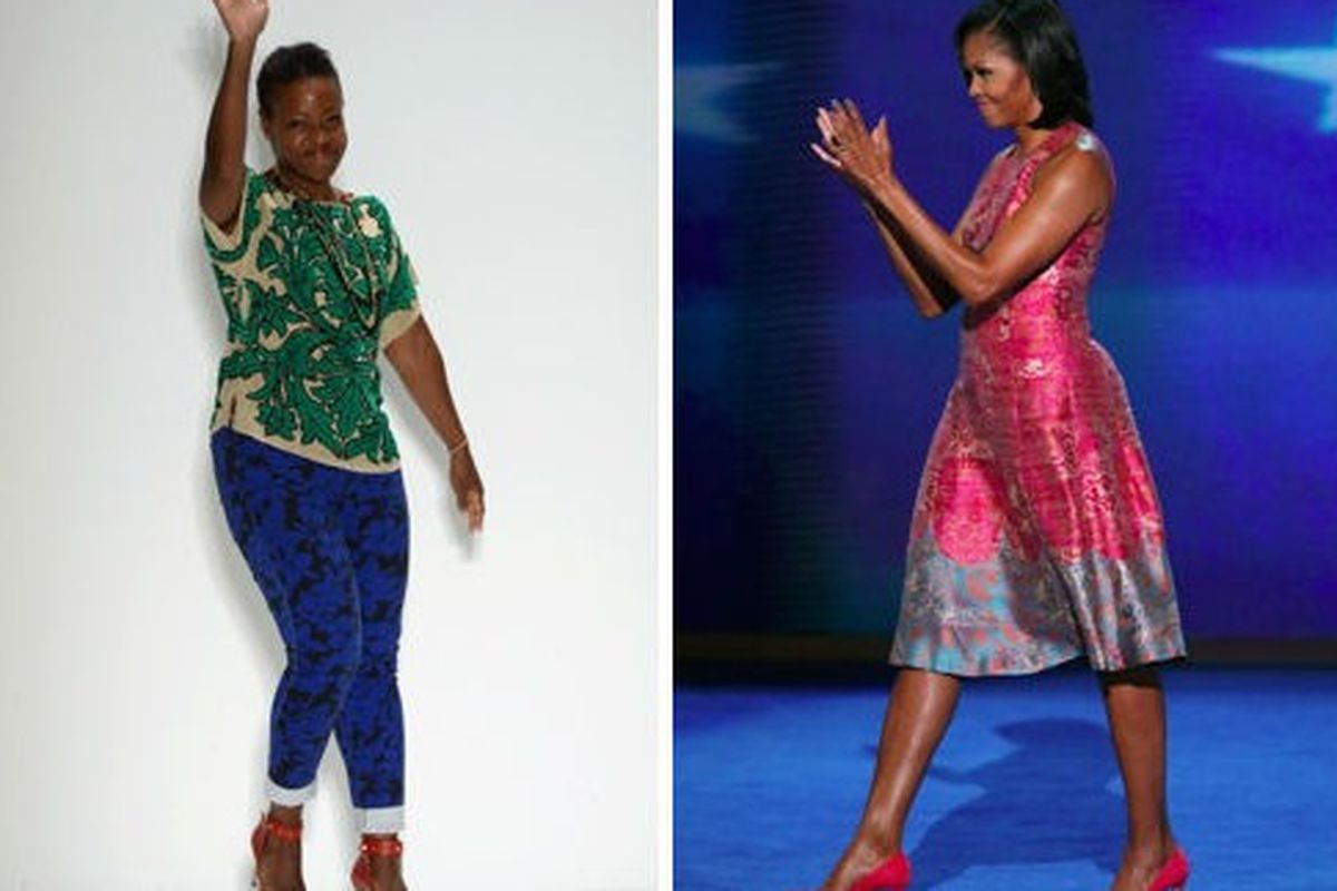 Michelle Obama model's Tracy's fit-and-flair (Not a bad choice for the season!), via Getty