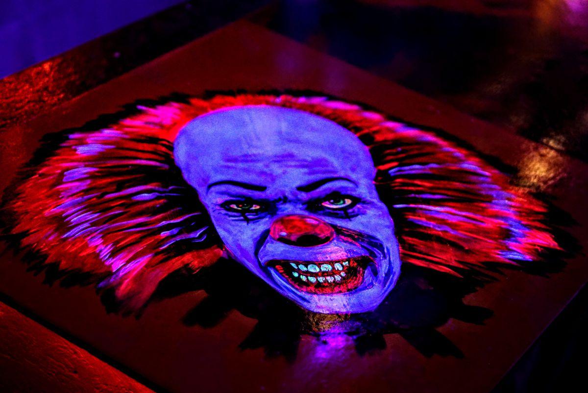 halloween decor, painting of evil clown