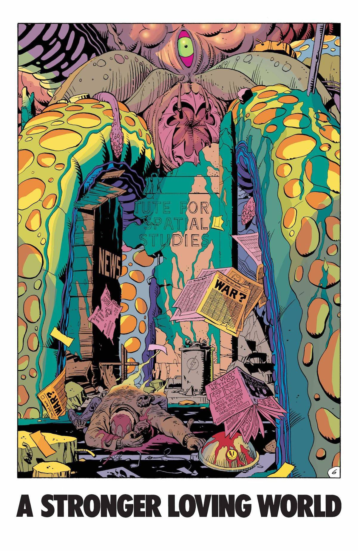 """watchmen the alien squid monster hangs on new york city with the words """"a stronger loving world"""" underneath the image"""