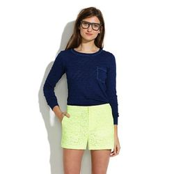 """Neon gets feminine treatment with these classically-fitting  Madewell shorts. $88, <a href=""""https://www.madewell.com/madewell_category/PANTSSHORTS/shorts/PRDOVR~01247/99103052674/ENE~1+2+3+22+4294967294+20~15~~0~15~all~mode+matchallany~~~~~shorts/01247.js"""