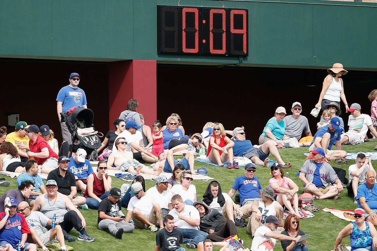 MESA, AZ - MARCH 07:  Fans sit underneath the pace of play clock in center field during the spring training game between the Chicago Cubs and the Kansas City Royals at Sloan Park on March 7, 2016 in Mesa, Arizona.  (Photo by Christian Petersen/Getty Images)