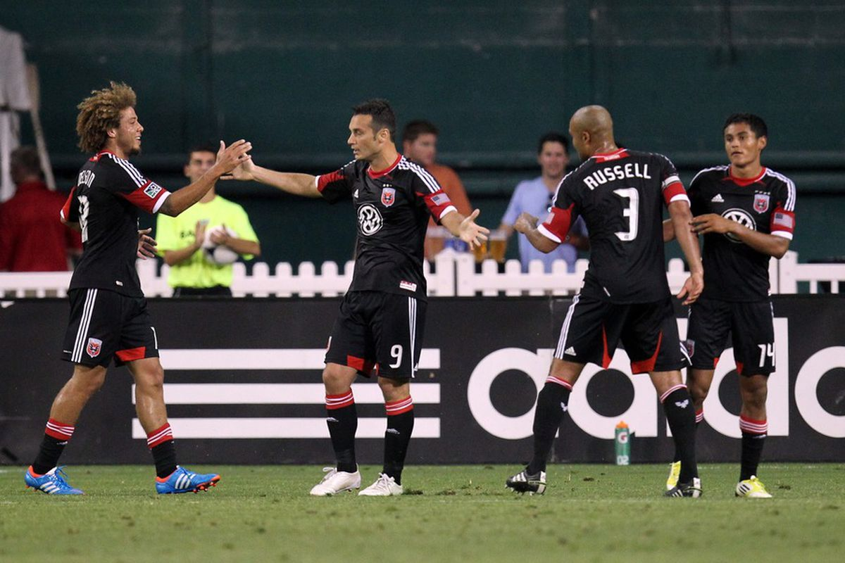 Salihi and teammates celebrate a stoppage time goal against the Impact on 30 Jun 12