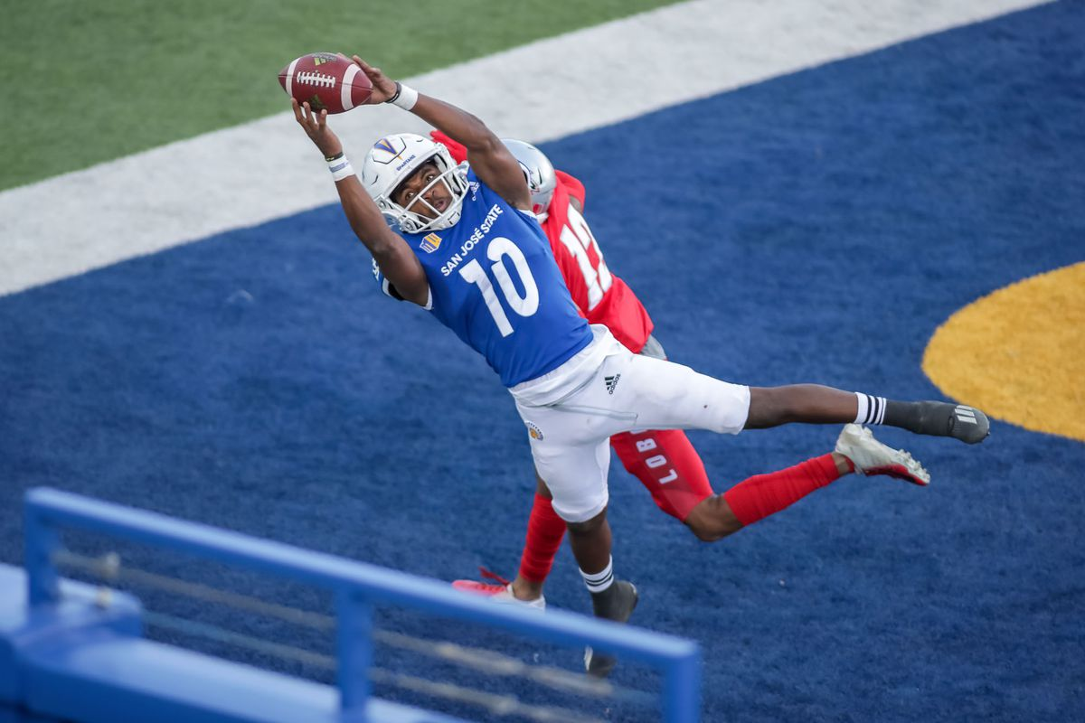 San Jose State wide receiver Tre Walker halls in his second touchdown pass from Spartan QB Nick Starkel against the University of New Mexico Lobos 10/31/2020