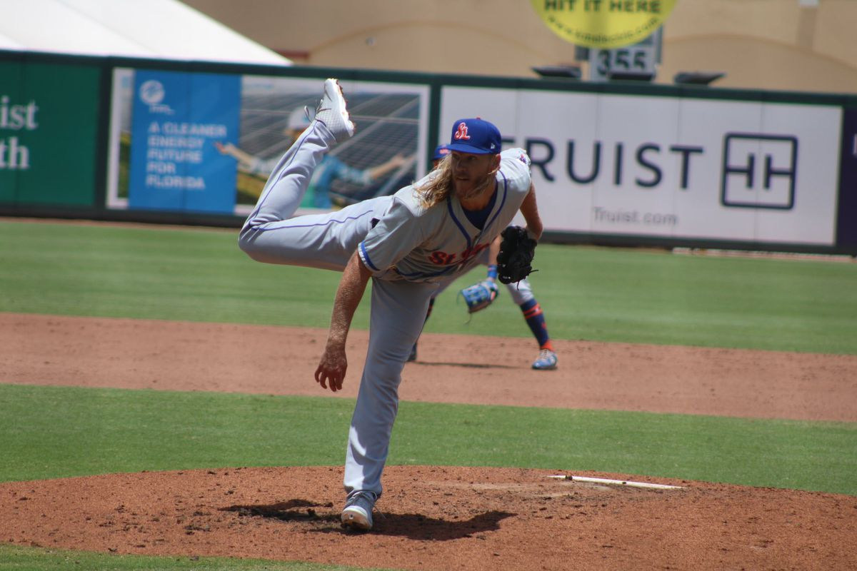 Noah Syndergaard throws a pitch during a start for the St. Lucie Mets on May 19, 2021.