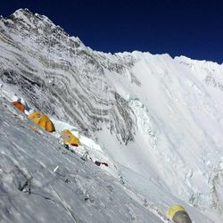 This is another view of Camp 3. The expedition sherpas set up tents for the climbers at all the camps before the climbers arrived, except at Camp 4, where the climbers did it themselves.