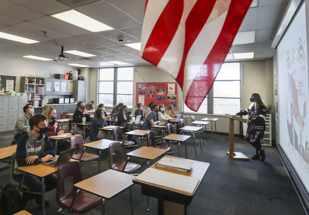 Mallory Record teaches an Advanced Placement government and comparative politics class at Jordan High School in Sandy on Wednesday, March 10, 2021.