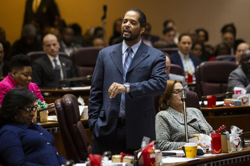 Ald. Anthony Beale (9th) speaks during a contentious Chicago City Council meeting, where aldermen were scheduled to vote on attempt by the Black Caucus to delay sales of recreational marijuana in Chicago for six months to give African American and Hispanic people a chance to get a piece of the action, at City Hall, Wednesday, Dec. 18, 2019.