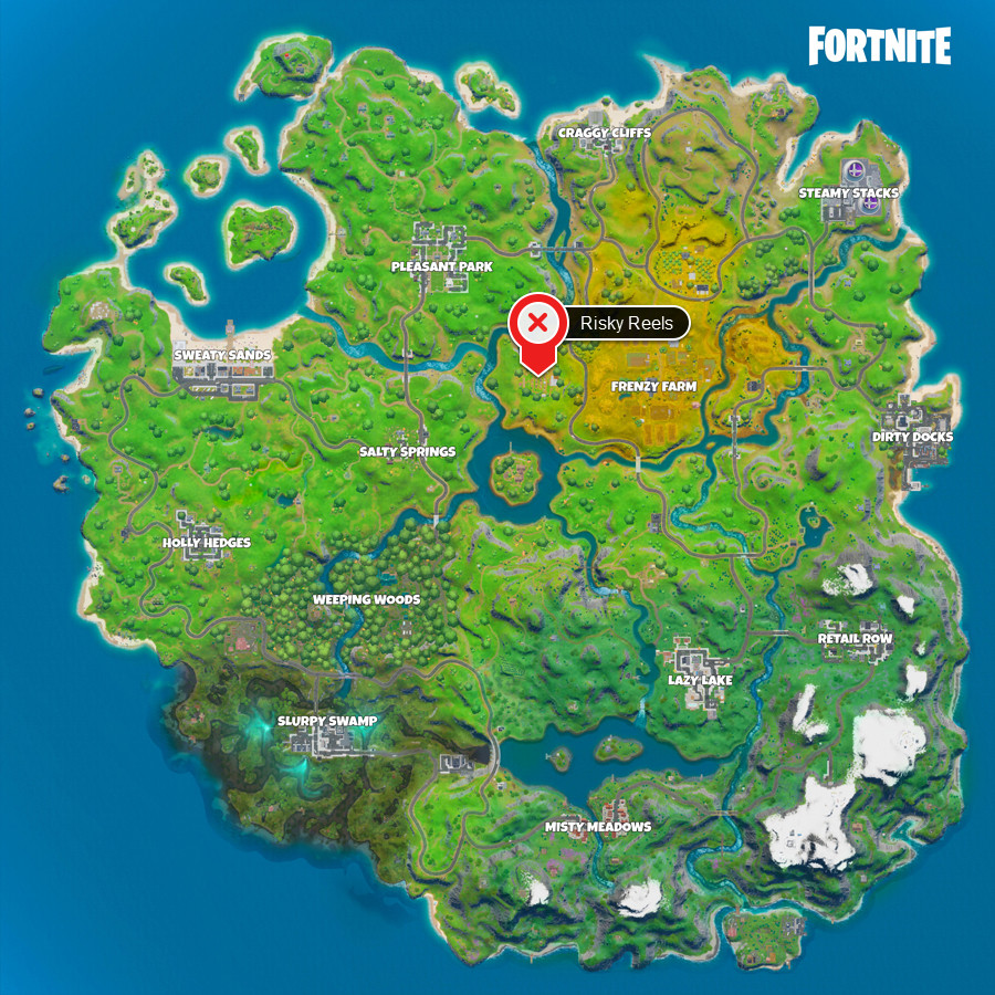A Fortnite Chapter 2 map with the location of Risky Reels marked