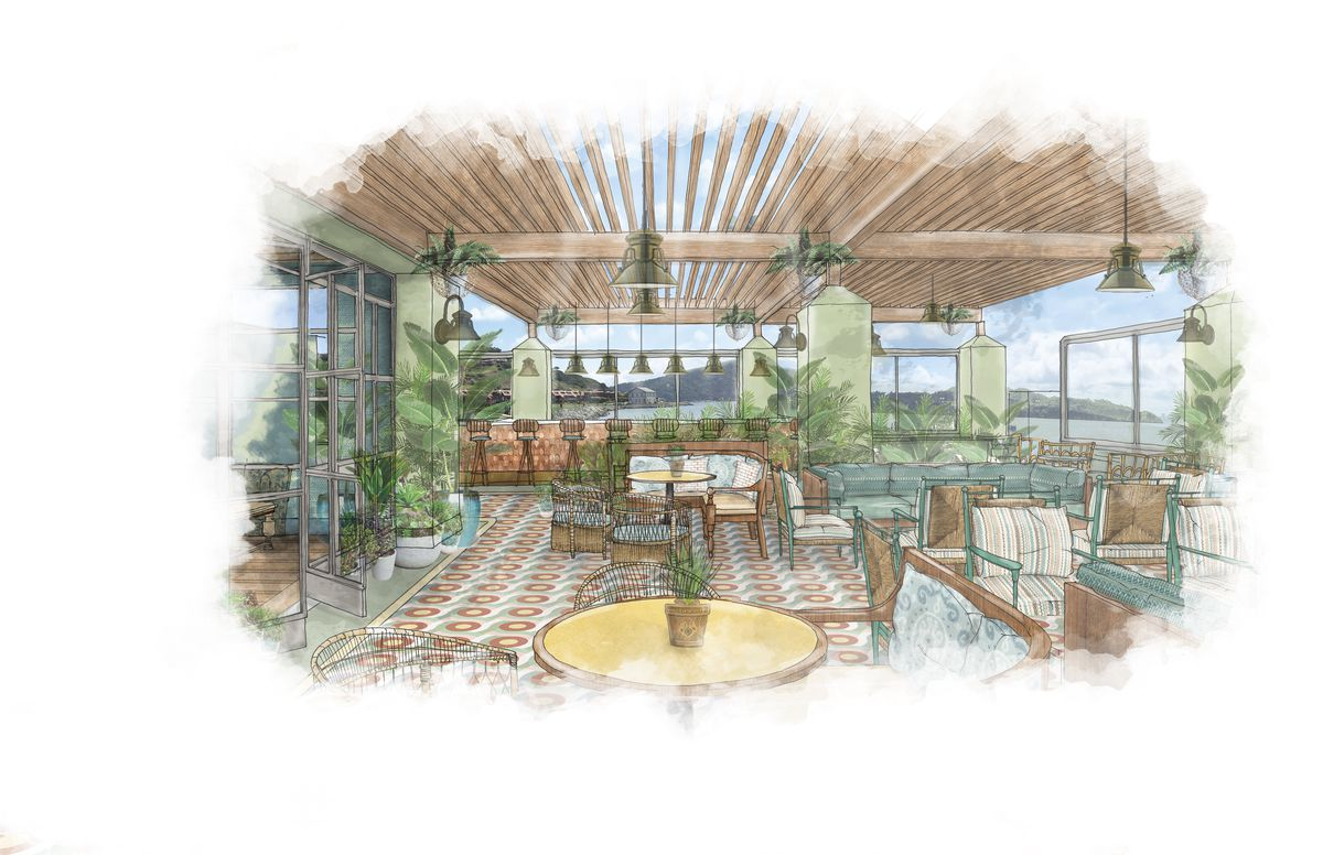 A rendering of the second floor of the Bungalow Kitchen