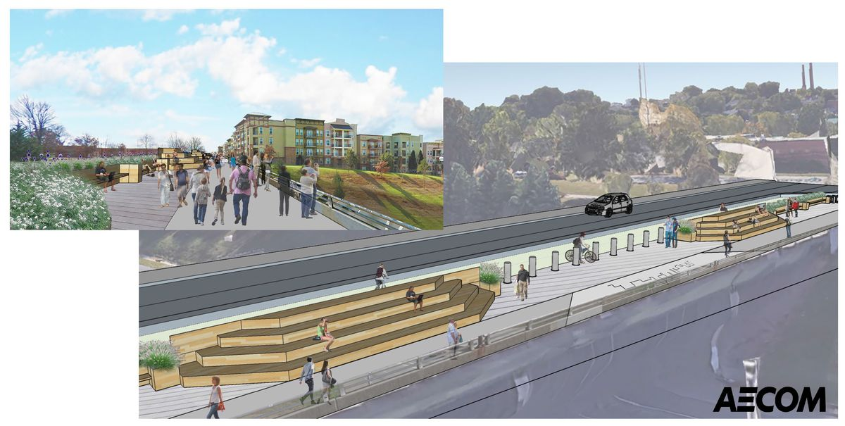 A rendering shows new seating and protected bike lanes.
