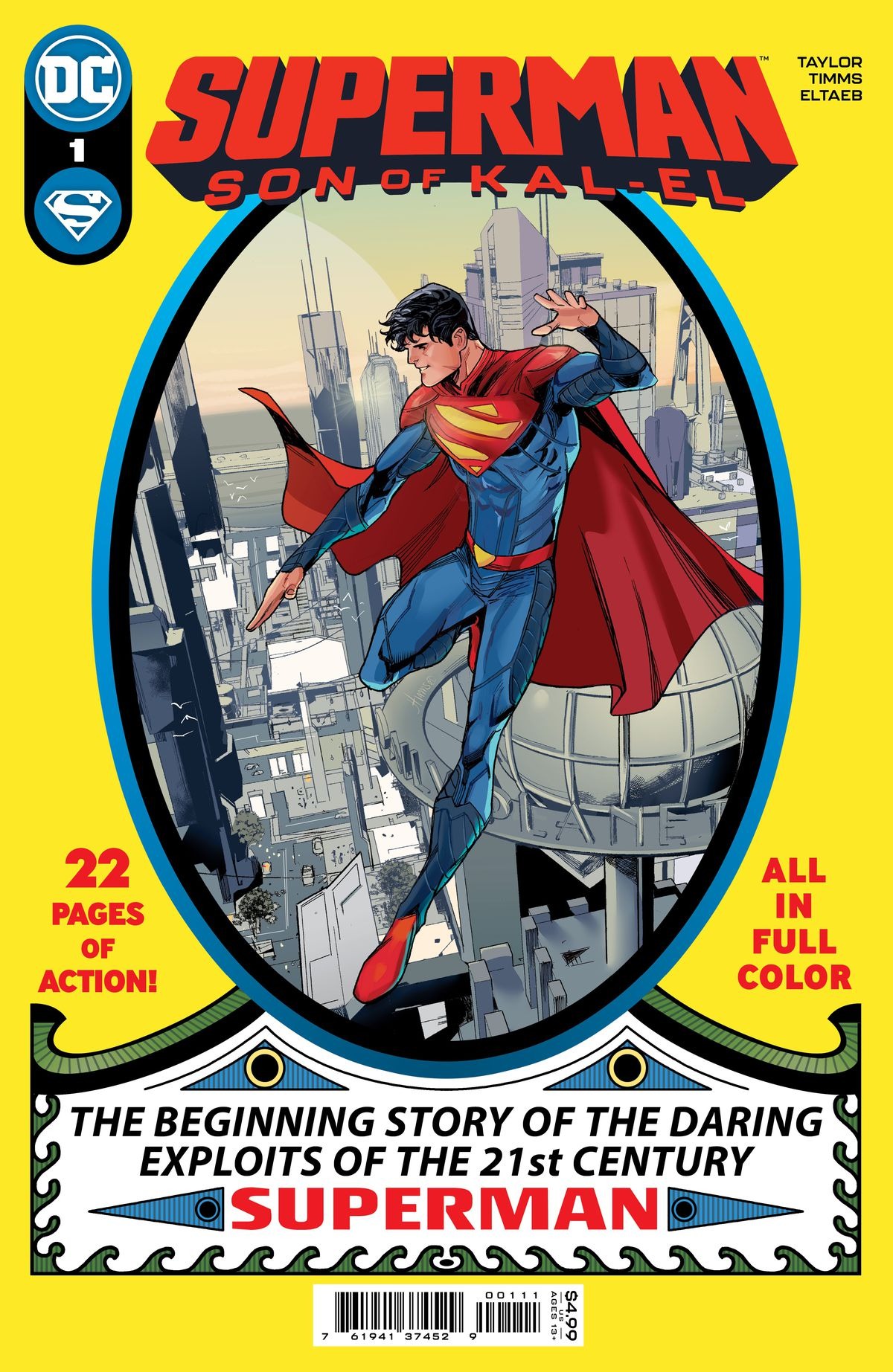 Jon Kent hovers above Metropolis in an homage to the cover of Superman #1, in the cover of Superman: Son of Kal-El #1, DC Comics (2021).