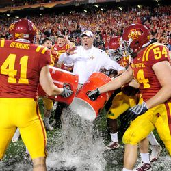 Iowa State Cyclones head coach Paul Rhoads is doused with water following the game against the Minnesota Golden Gophers in the 2009 Insight Bowl at Sun Devil Stadium. Iowa State defeated Minnesota 14-13.
