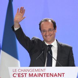 Socialist Party candidate for the presidential election Francois Hollande delivers his speech after the presidential election first round, in Tulle, central France, Sunday, April 22, 2012. Official partial results show Socialist Francois Hollande and conservative President Nicolas Sarkozy are advancing to the runoff of France's presidential elections.