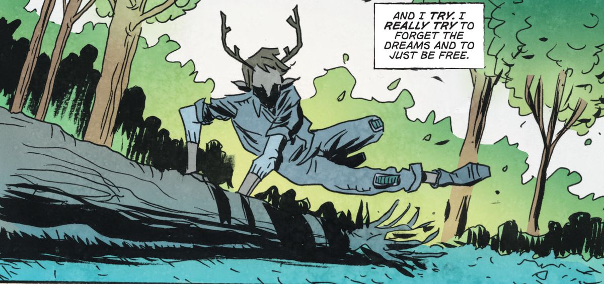 A boy with antlers vaults over a fallen log in a forest, in Sweet Tooth: The Return #1, DC Comics (2020).