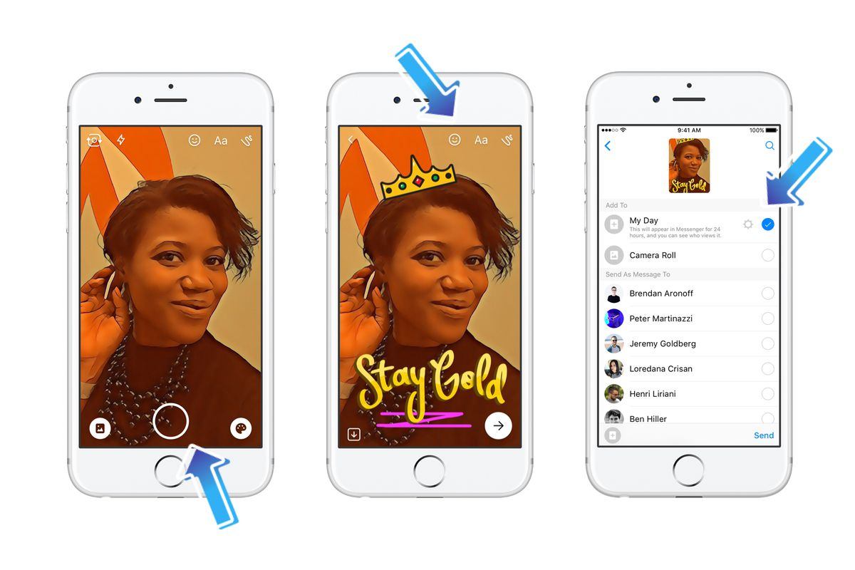Facebook's Snapchat stories clone, Messenger Day, is now