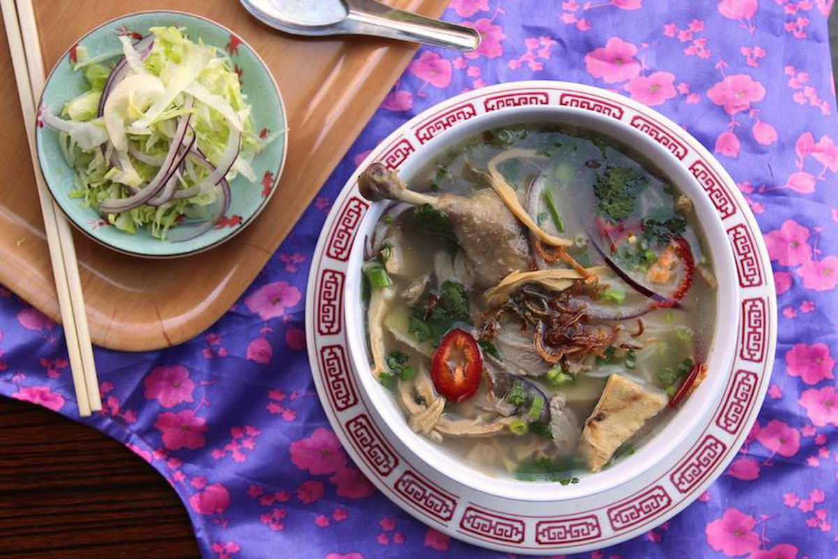 Vietnamese duck and rice noodle soup from the Rice Paper Scissors pop-up in San Francisco.
