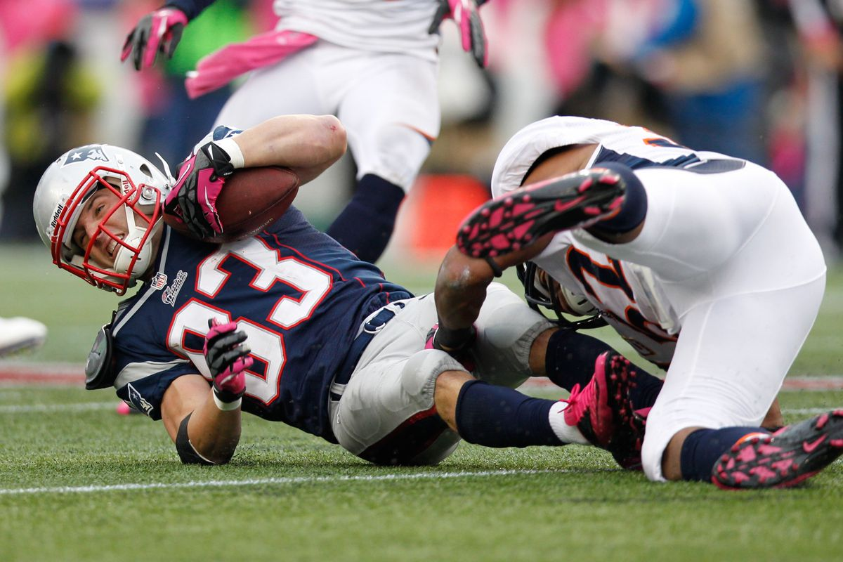Wes Welker as a Patriot vs. the Broncos in 2012.