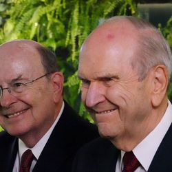 President Russell M. Nelson of The Church of Jesus Christ of Latter-day Saints, right, answers a question during an interview in Bogota, Colombia, on Monday, Aug. 26, 2019. At left is Elder Quentin L. Cook of the Quorum of the Twelve Apostles. They previously met with President Ivan Duque of Colombia.