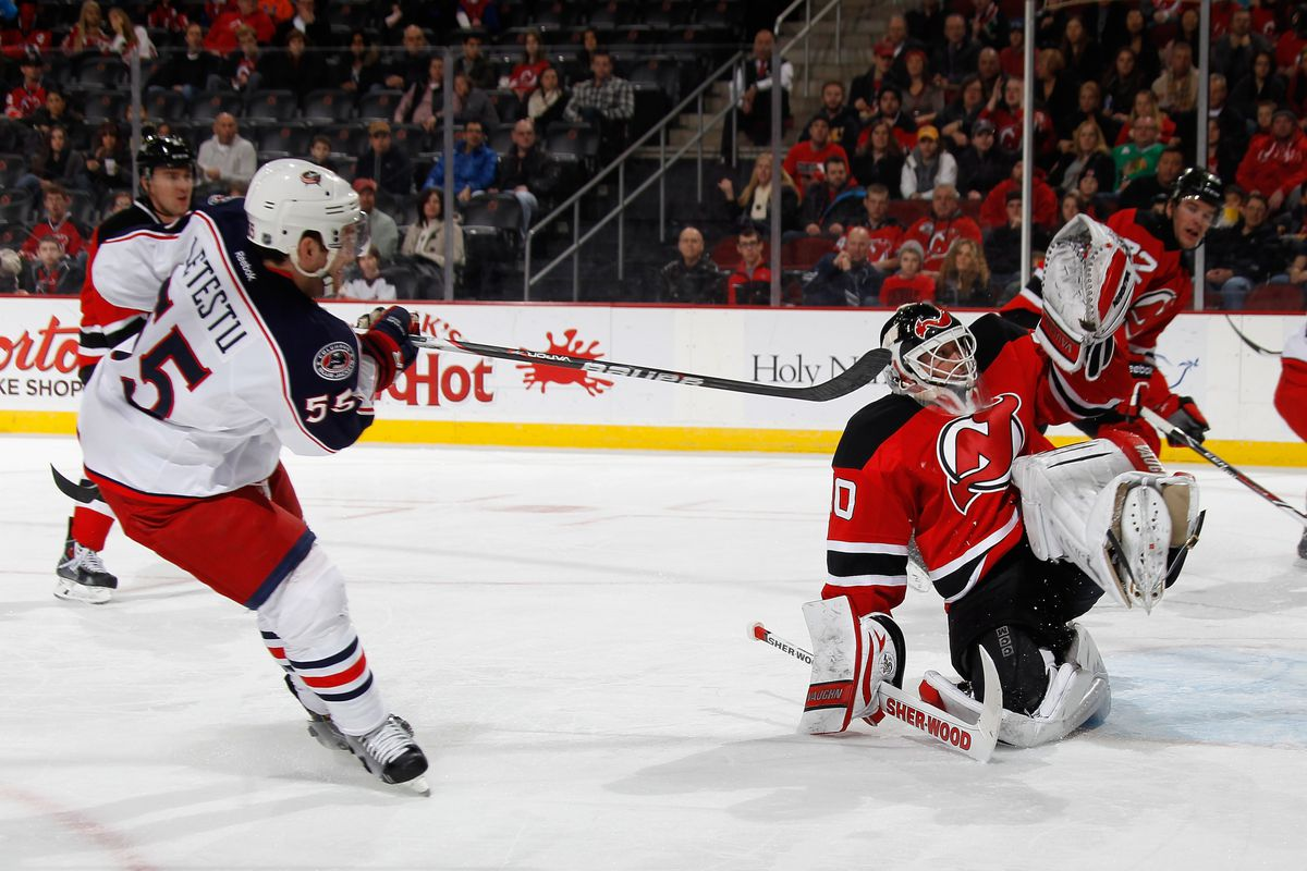 Martin Brodeur stopping Mark Letestu was a common sight in this game.