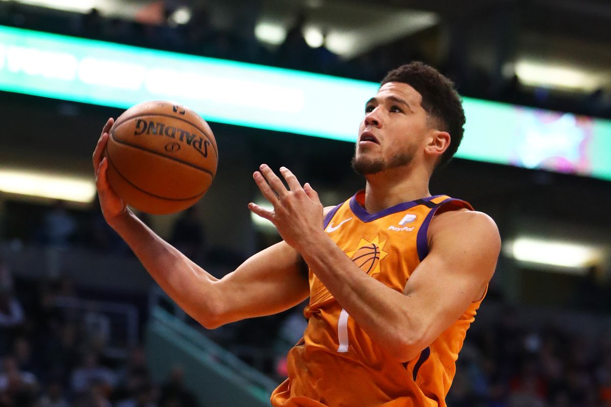 Phoenix Suns guard Devin Booker against the New York Knicks in the second half at Talking Stick Resort Arena.