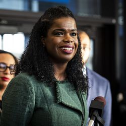 Cook County State's Attorney Kim Foxx speaks during a press conference at the Leighton Criminal Courthouse after Foxx filed motions to vacate more than 1,000 low-level cannabis convictions, Wednesday afternoon, Dec. 11, 2019.