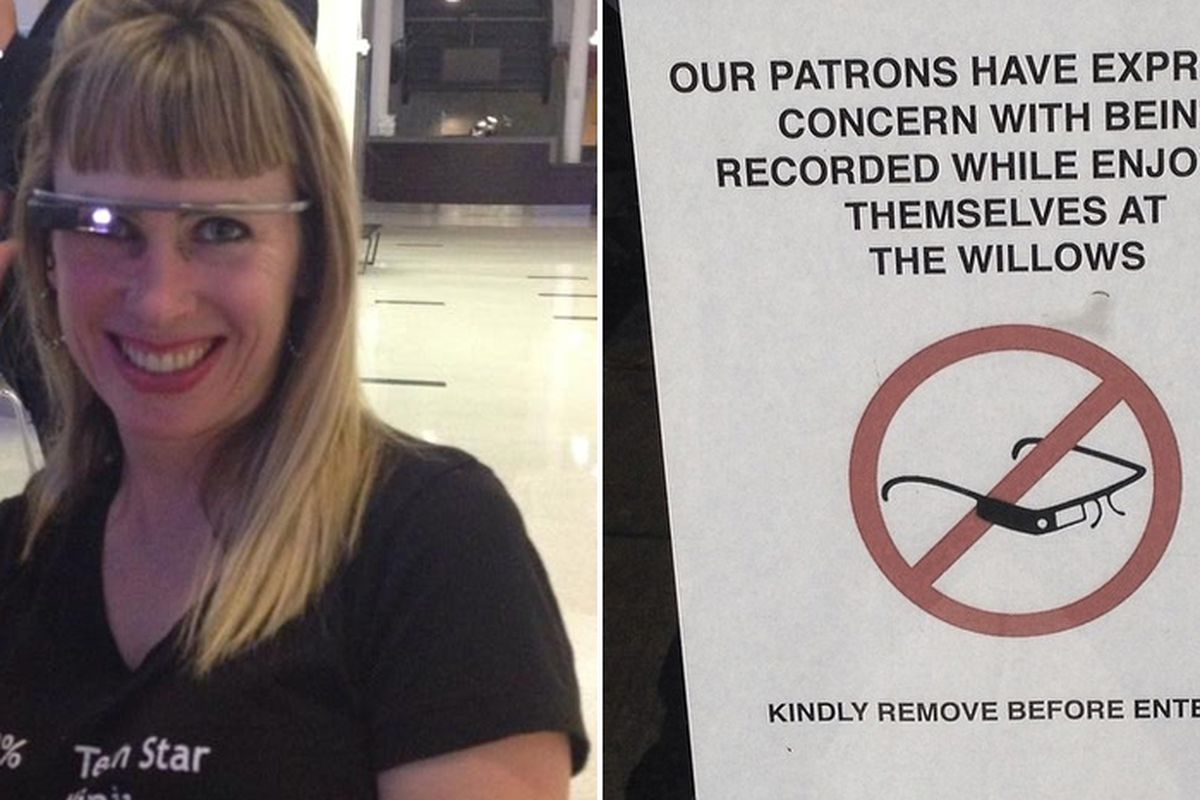 Left: Sarah Slocum. Right: A sign banning Google Glass at the Willows, San Francisco.