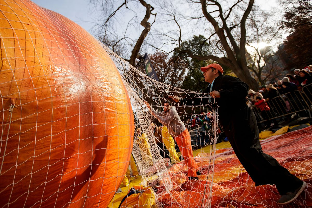 Giant Balloons Inflated Ahead Of Macy's Thanksgiving Day Parade