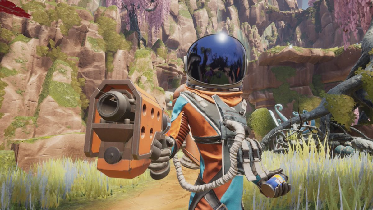 a corporate drone with a spacesuit and a pistol stands on an alien planet in Journey to the Savage Planet