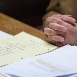 Attorney Bob Sykes' notes are spread out during a press conference in his office in Salt Lake City on Thursday, June 29, 2017. Sykes and his client, Guy Gailey, have filed a lawsuit against Ogden police officer Rylee Marble claiming Marble used excessive force by slamming his knee into Gailey's back while arresting him for investigation of fleeing from police — after Gailey had already surrendered.