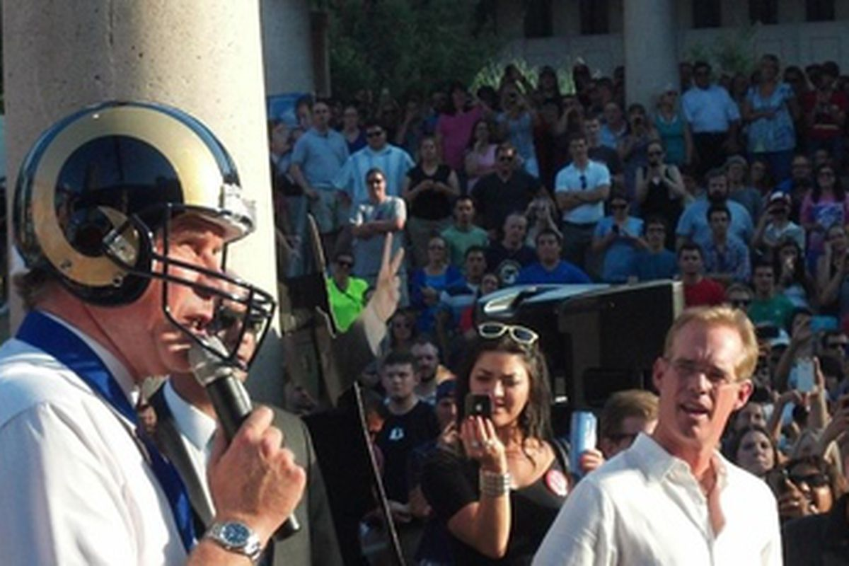 Will Ferrell joins the St. Louis Rams as Joe Buck looks on in existential horror.