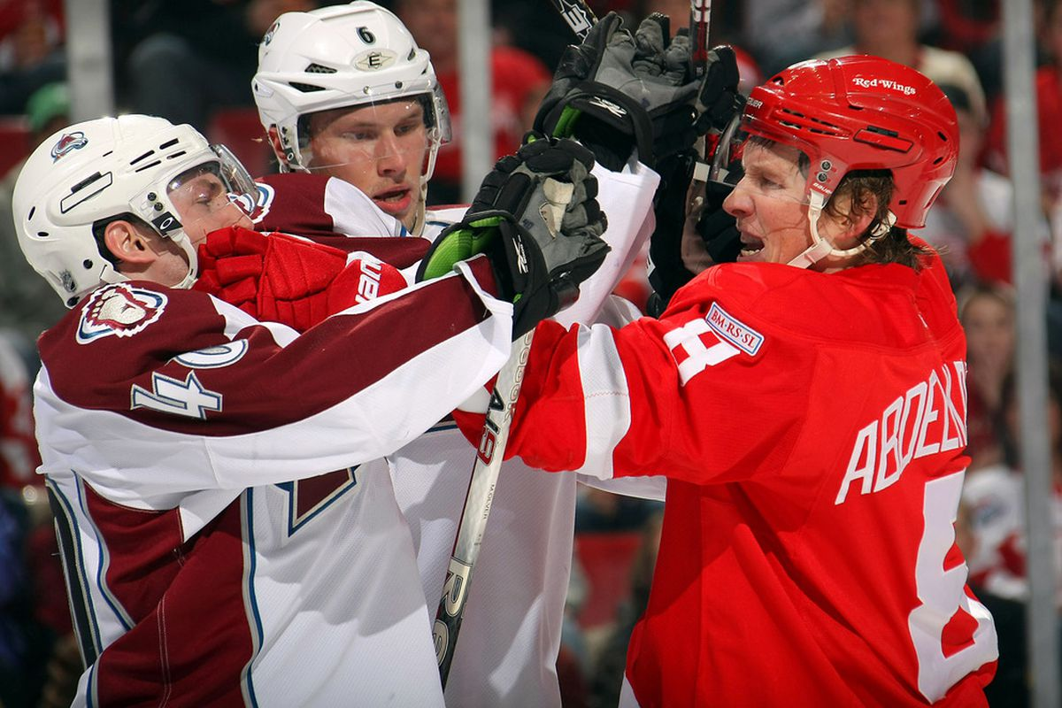 Whatever Abdelkader's problem was, Ryan Wilson sure helped him get olver it ;) (Photo by Dave Sandford/Getty Images)