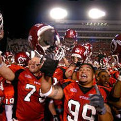 Utah players celebrate their season-opening win over Texas A\\\\&M on Sept. 2 in Rice-Eccles Stadium.