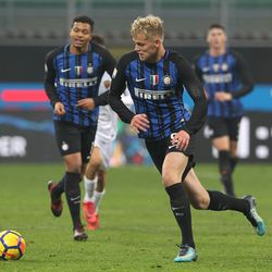 Jens Odgaard of FC Internazionale in action during the Primavera SuperCup match between FC Internazionale U19 and AS Roma U19 at Stadio Giuseppe Meazza on January 7, 2018 in Milan, Italy.