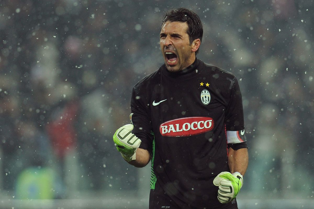 Gianluigi Buffon celebrates a goal scored in a game that didn't end in a draw. I know that's hard to believe, but wins actually do happen from time to time. Like hopefully today. That would be nice, huh?