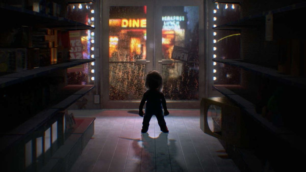 A silhouette of a doll holding a butcher's knife in the aisle of a toy store.